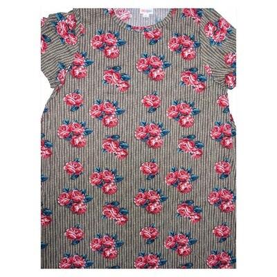 LuLaRoe CARLY X-Large XL Floral Roses Stripe Swing Dress fits Women 18-20