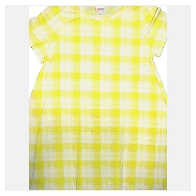 LuLaRoe CARLY X-Large XL Geometric Plaid Yellow White Swing Dress fits Women 18-20