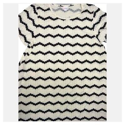 LuLaRoe CARLY X-Large XL Geometric Black White Polka Dot Stripe Swing Dress fits Women 18-20