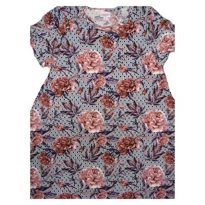 LuLaRoe CARLY X-Large XL Floral Roses Red Pink Black White Geometric Swing Dress fits Women 18-20