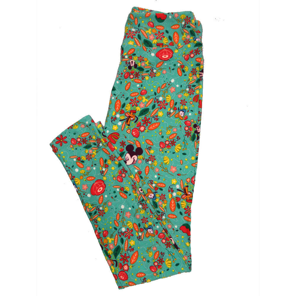 LuLaRoe One Size OS Disney Mickey Mouse Donald Duck Floral Leggings (OS fits Adults 2-10) OS-4048-K