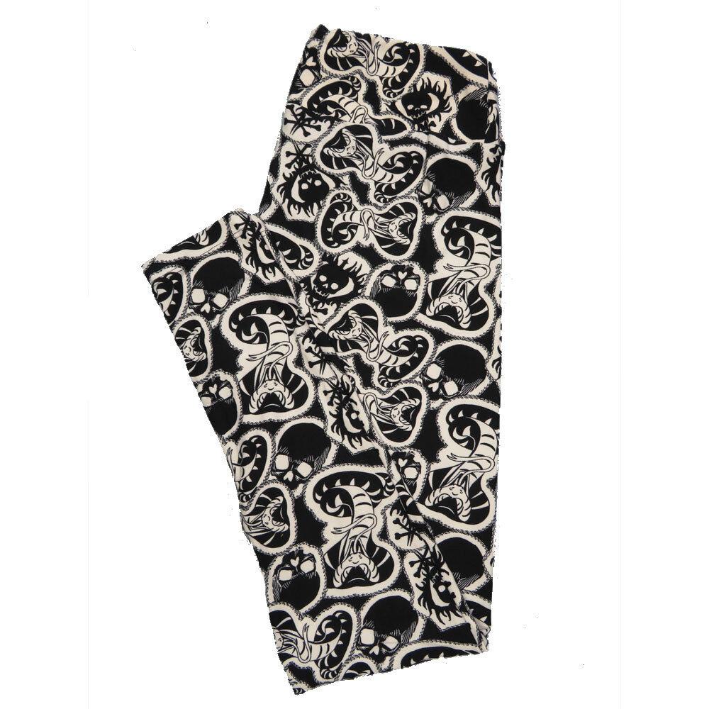 LuLaRoe One Size OS Disney Cobra Snake Black White  Leggings (OS fits Adults 2-10) OS-4050-Y
