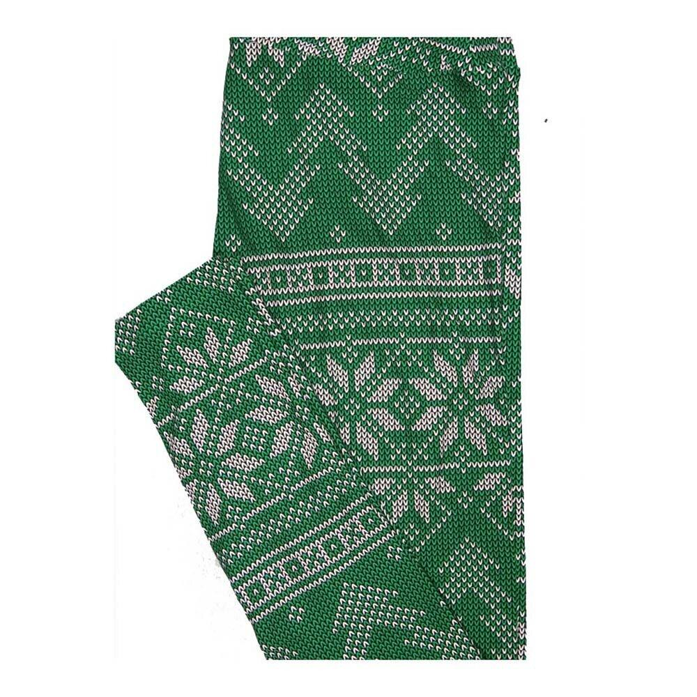 LuLaRoe One Size OS Christmas Green White Ornament Stripe Leggings fits Women 2-10