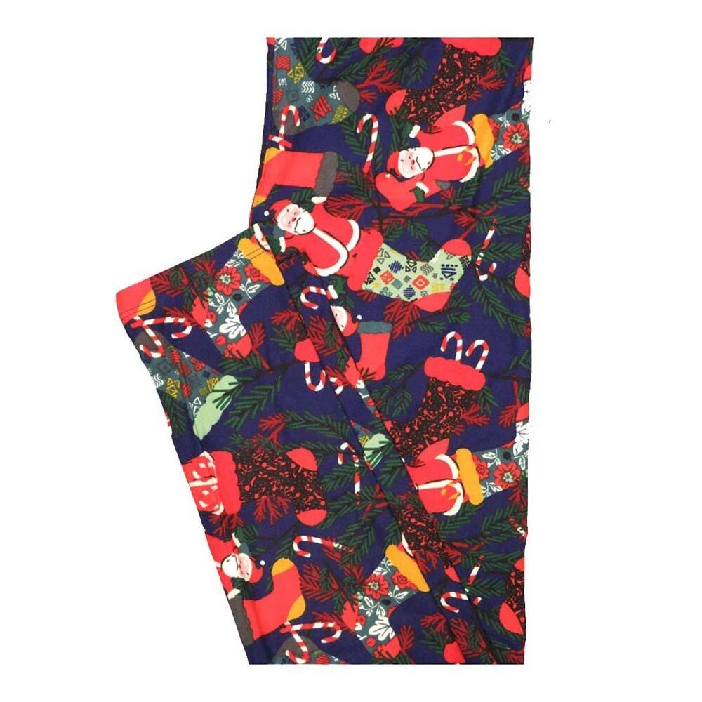 LuLaRoe One Size OS Christmas Santa claus Stockings Candy Cane Leggings fits Women 2-10