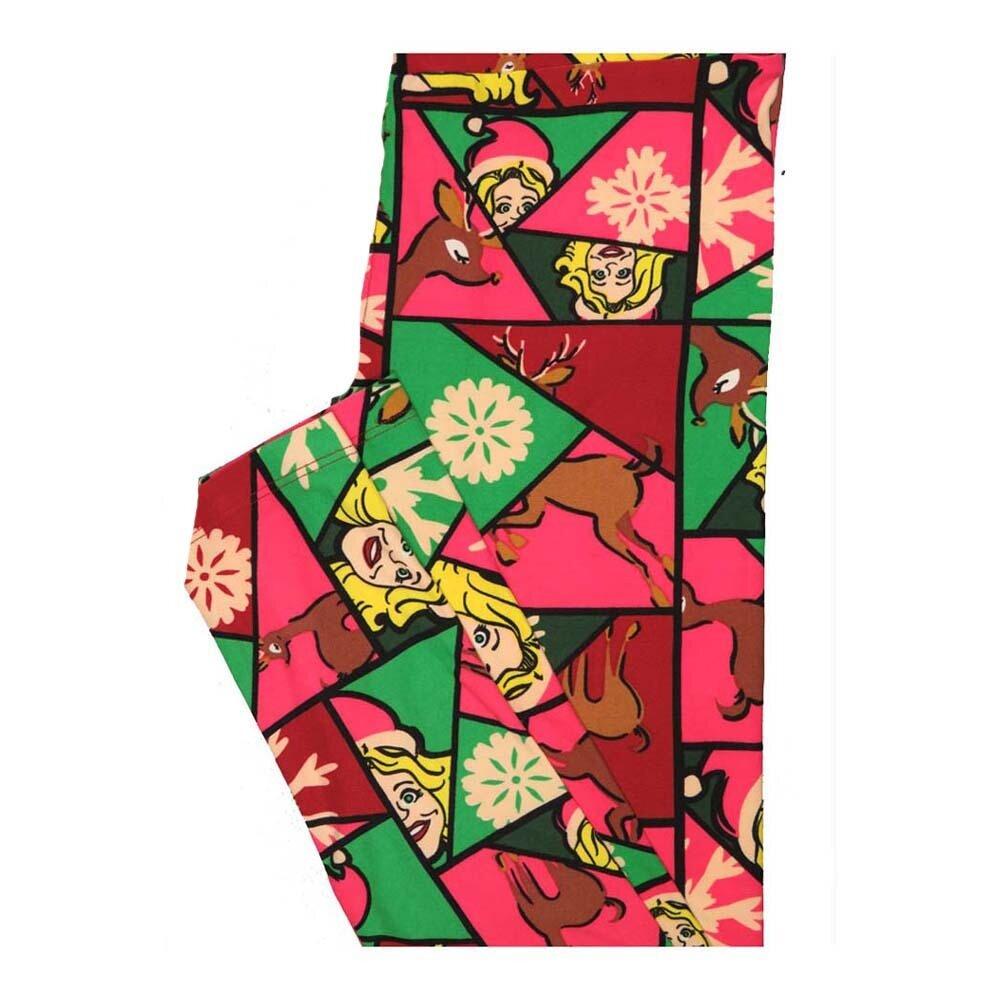 LuLaRoe One Size OS Christmas Geometric Lady Elf Reindeer Snowflake Leggings fits Women 2-10