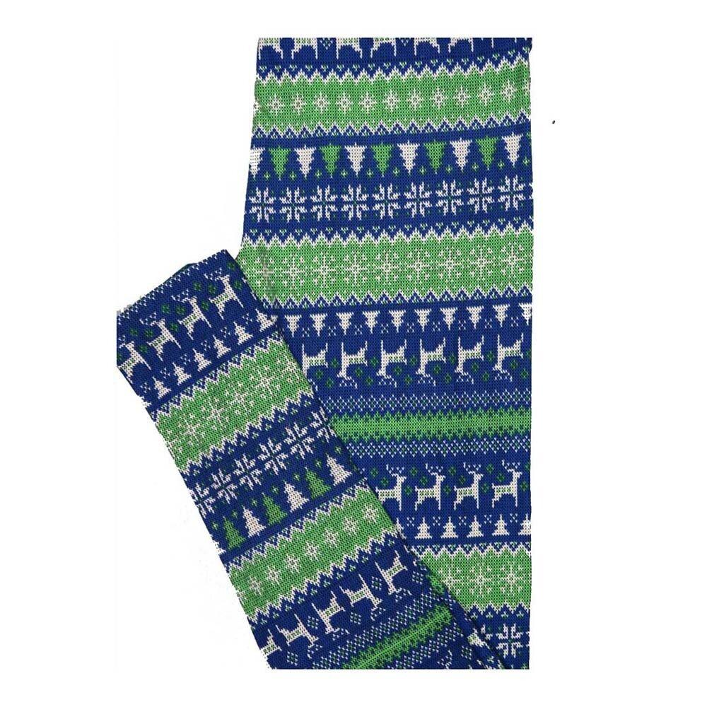LuLaRoe One Size OS Christmas Blue Green White Reindeer Snowflake Stripe Leggings fits Women 2-10