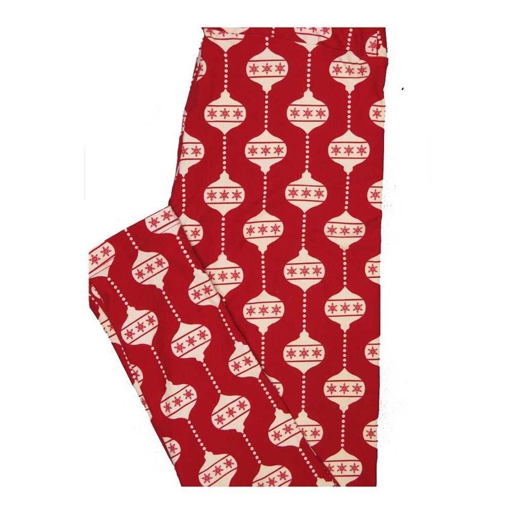 LuLaRoe One Size OS Christmas Red White Ornaments Leggings fits Women 2-10
