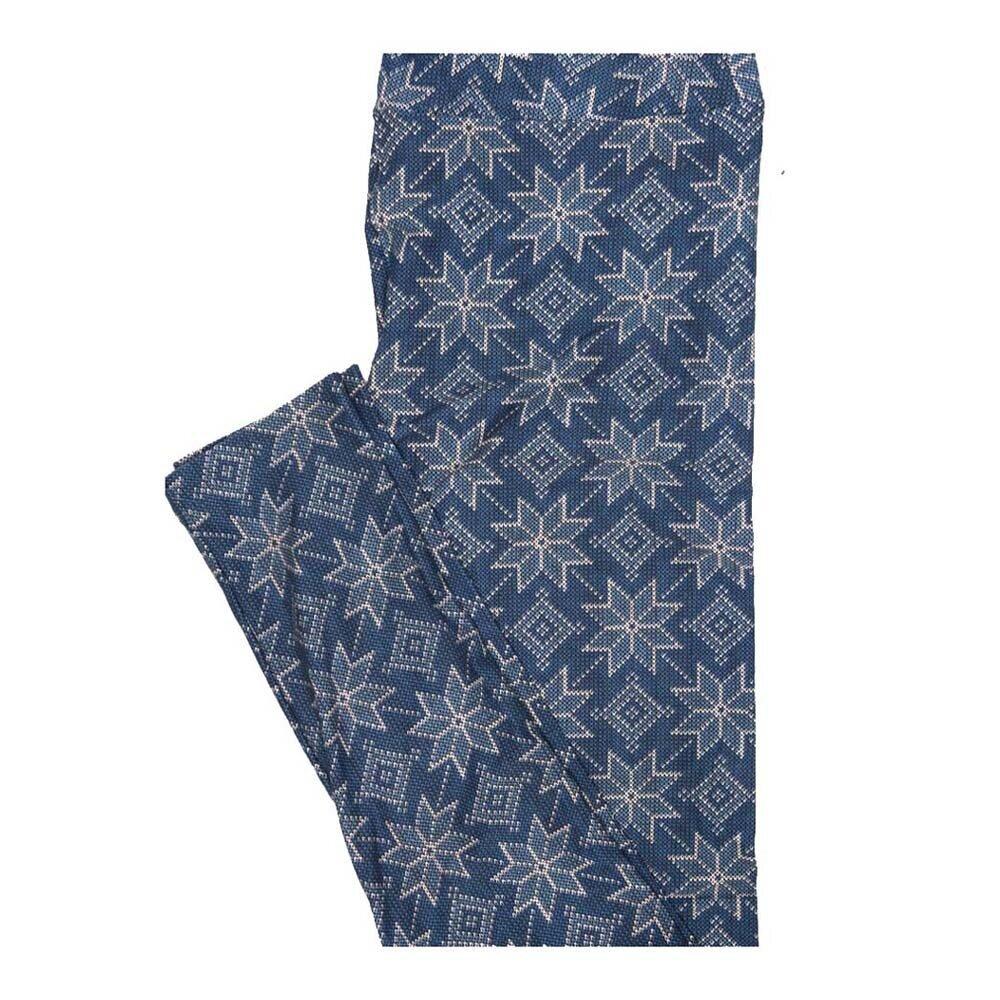 LuLaRoe One Size OS Christmas Blue White Snowflake Geometric Leggings fits Women 2-10