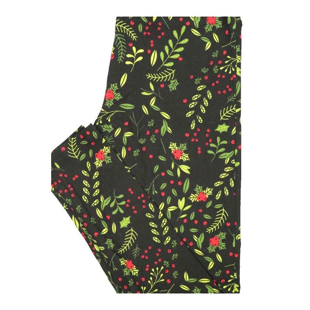 LuLaRoe One Size OS Christmas Holly Mistletoe Leggings fits Women 2-10
