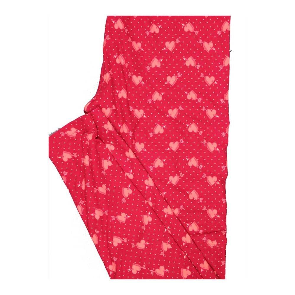 LuLaRoe One Size OS Valentines Polka Dot Arrow thru Hearts Leggings fits Women 2-10