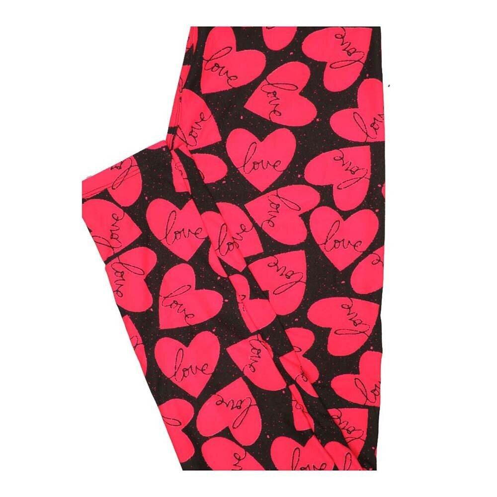 LuLaRoe One Size OS Valentines Black Pink Hearts Love Leggings fits Women 2-10
