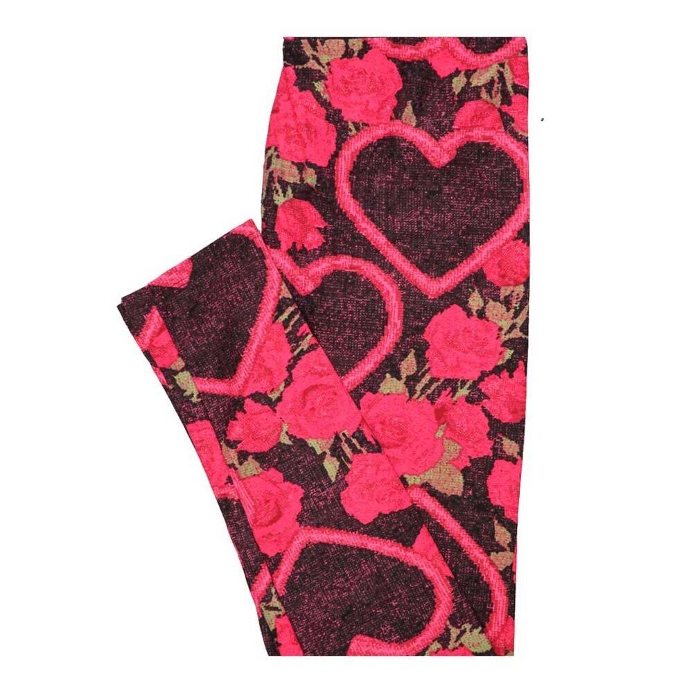 LuLaRoe One Size OS Valentines Hearts Roses Leggings fits Women 2-10