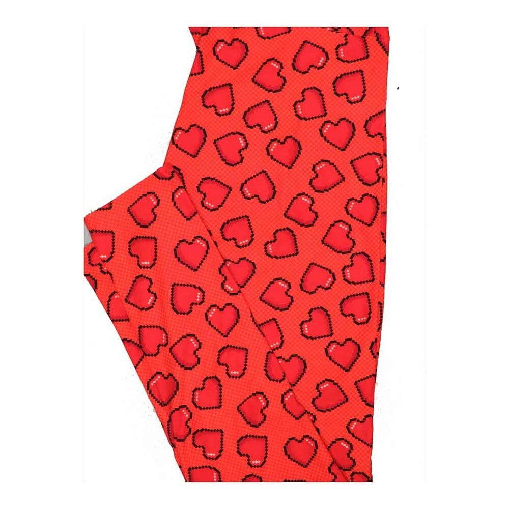 LuLaRoe One Size OS Valentines Pixel Grid Hearts Leggings fits Women 2-10