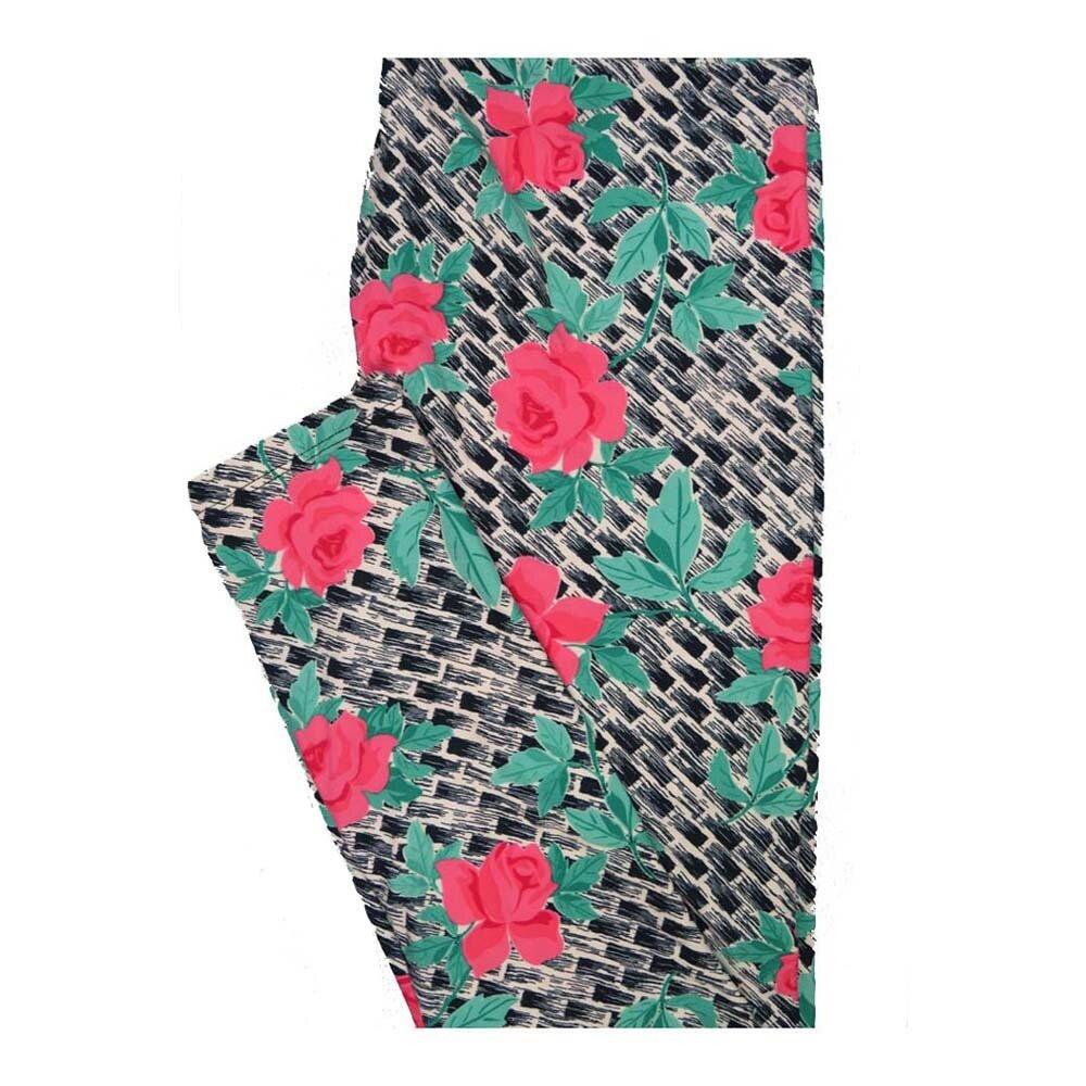 LuLaRoe One Size OS Roses Subway Tile Stripe Floral Leggings fits Women 2-10