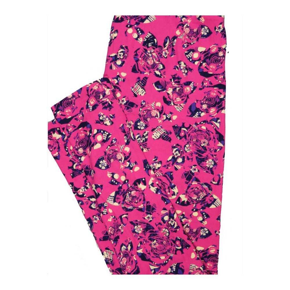 LuLaRoe One Size OS Roses Floral Leggings fits Women 2-10