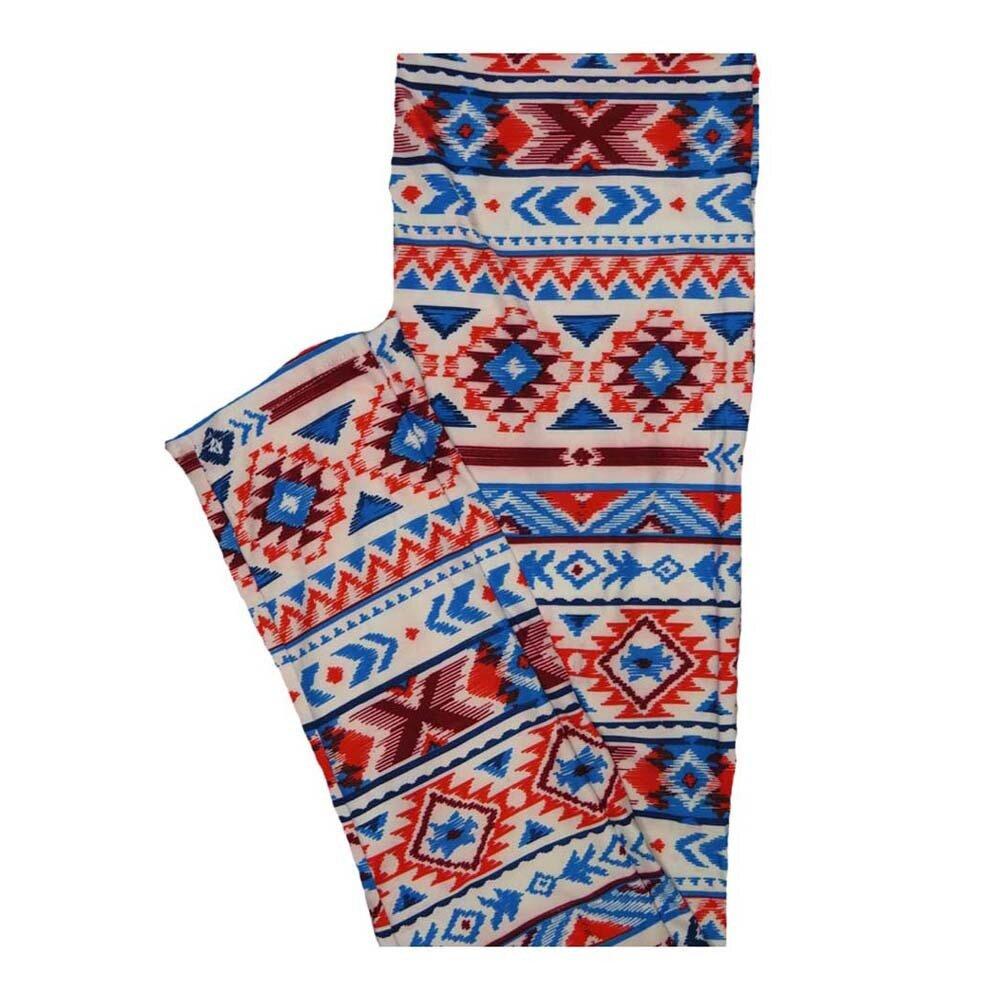 LuLaRoe One Size OS Red White Blue Stripes Southwestern Aztek Leggings fits Women 2-10