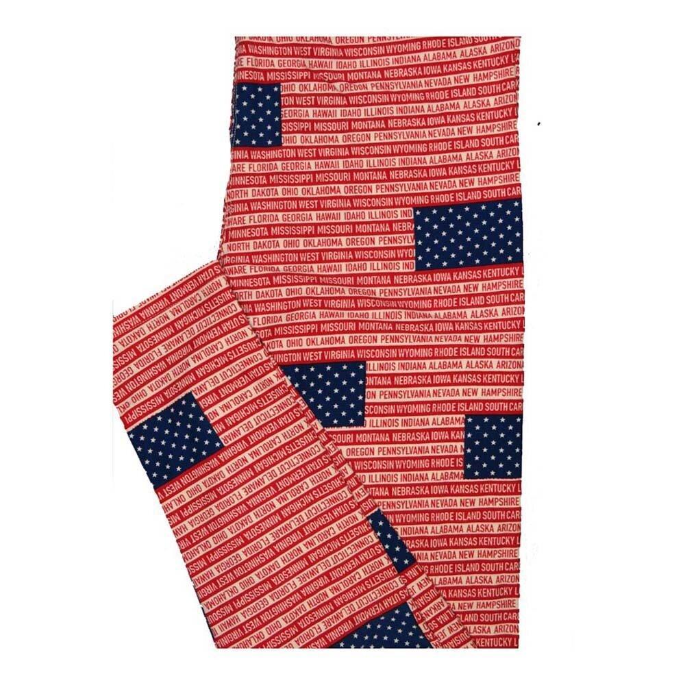 LuLaRoe One Size OS America USA Flag All Fifty States Leggings fits Women 2-10
