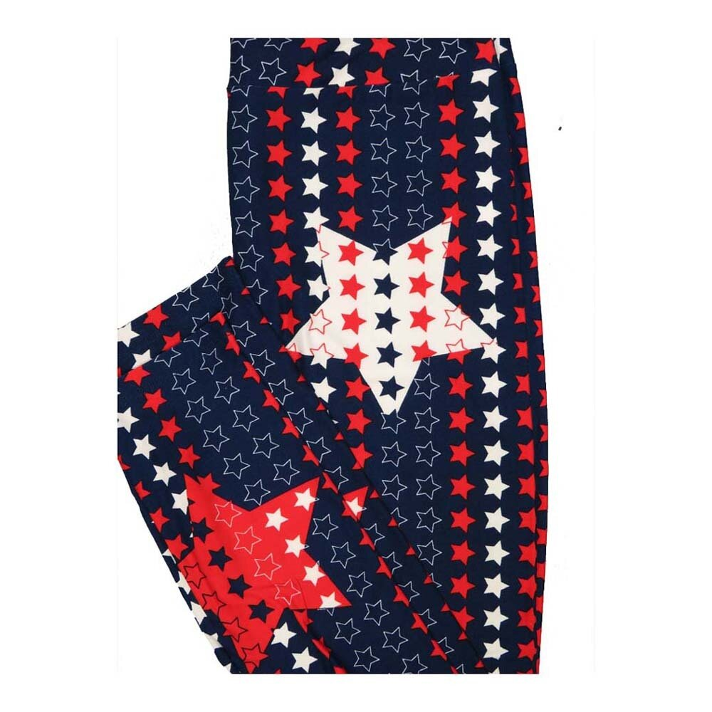 LuLaRoe One Size OS Stars and Stripes Red White Blue Leggings fits Women 2-10