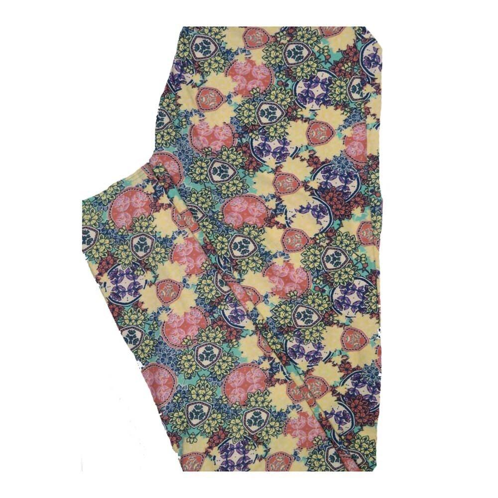 LuLaRoe One Size OS Mandala Floral Leggings fits Women 2-10