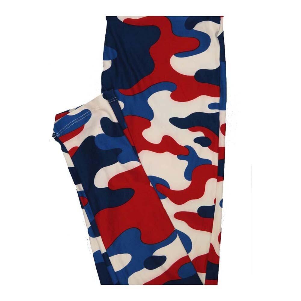 LuLaRoe One Size OS Camouflage Red White Blue Leggings fits Women 2-10