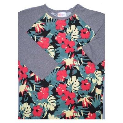 LuLaRoe Randy XX-Small Floral Raglan Sleeve Unisex Baseball Womens Tee Shirt - XXS fits 00-0