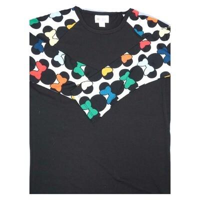 LuLaRoe Randy XX-Small Disney Minnie Mouse Black White Yellow Blue Pink Raglan Sleeve Unisex Baseball Womens Tee Shirt - XXS fits 00-0