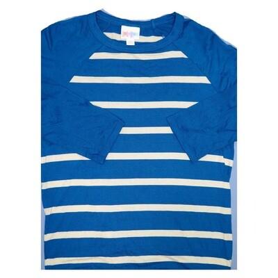 LuLaRoe Randy XX-Small Blue White Stripe Raglan Sleeve Unisex Baseball Womens Tee Shirt - XXS fits 00-0