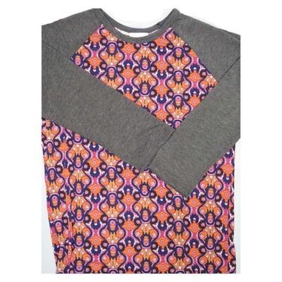 LuLaRoe Randy XX-Small 70s Trippy Psychedelic Geometric Raglan Sleeve Unisex Baseball Womens Tee Shirt - XXS fits 00-0