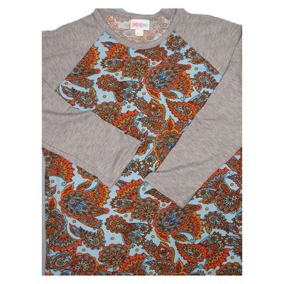 LuLaRoe Randy XX-Small Floral Paisley Raglan Sleeve Unisex Baseball Womens Tee Shirt - XXS fits 00-0