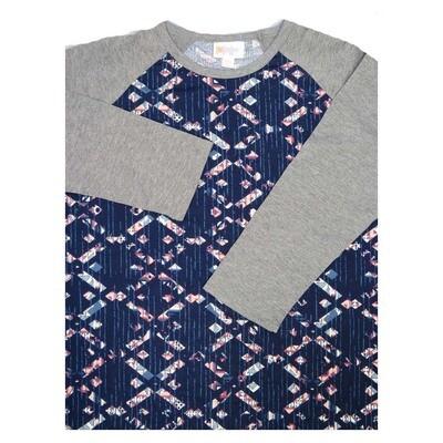 LuLaRoe Randy XX-Small Geometric Raglan Sleeve Unisex Baseball Womens Tee Shirt - XXS fits 00-0