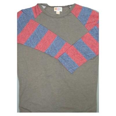 LuLaRoe Randy XX-Small Stripe Raglan Sleeve Unisex Baseball Womens Tee Shirt - XXS fits 00-0