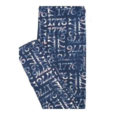 LuLaRoe One Size OS 1776 Blue White Leggings fits Women 2-10