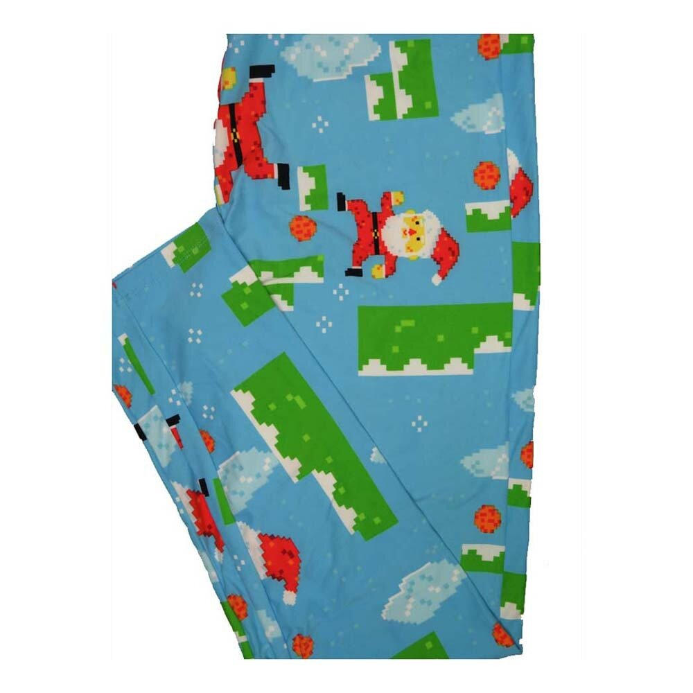 LuLaRoe Tall Curvy TC Christmas Holiday Santa Chimney Pixelated Leggings fits Women 12-18