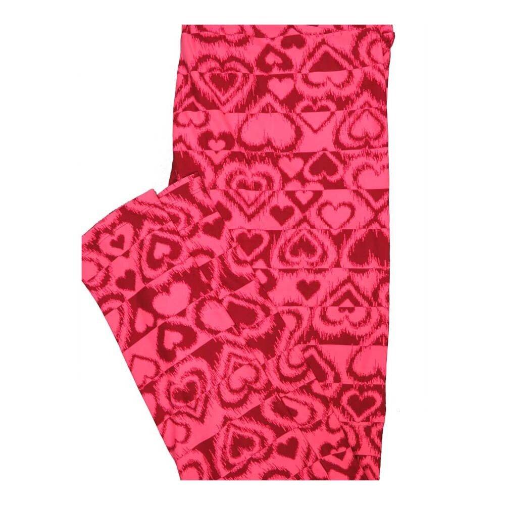 LuLaRoe Tall Curvy TC Valentines Fuzzy Hearts Leggings fits Women 12-18