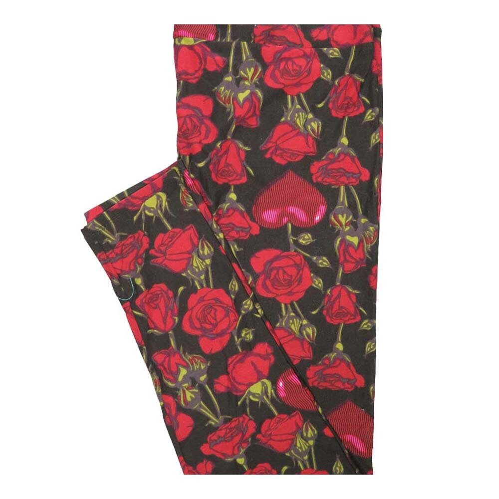 LuLaRoe Tall Curvy TC Valentines Roses and Hearts Leggings fits Women 12-18