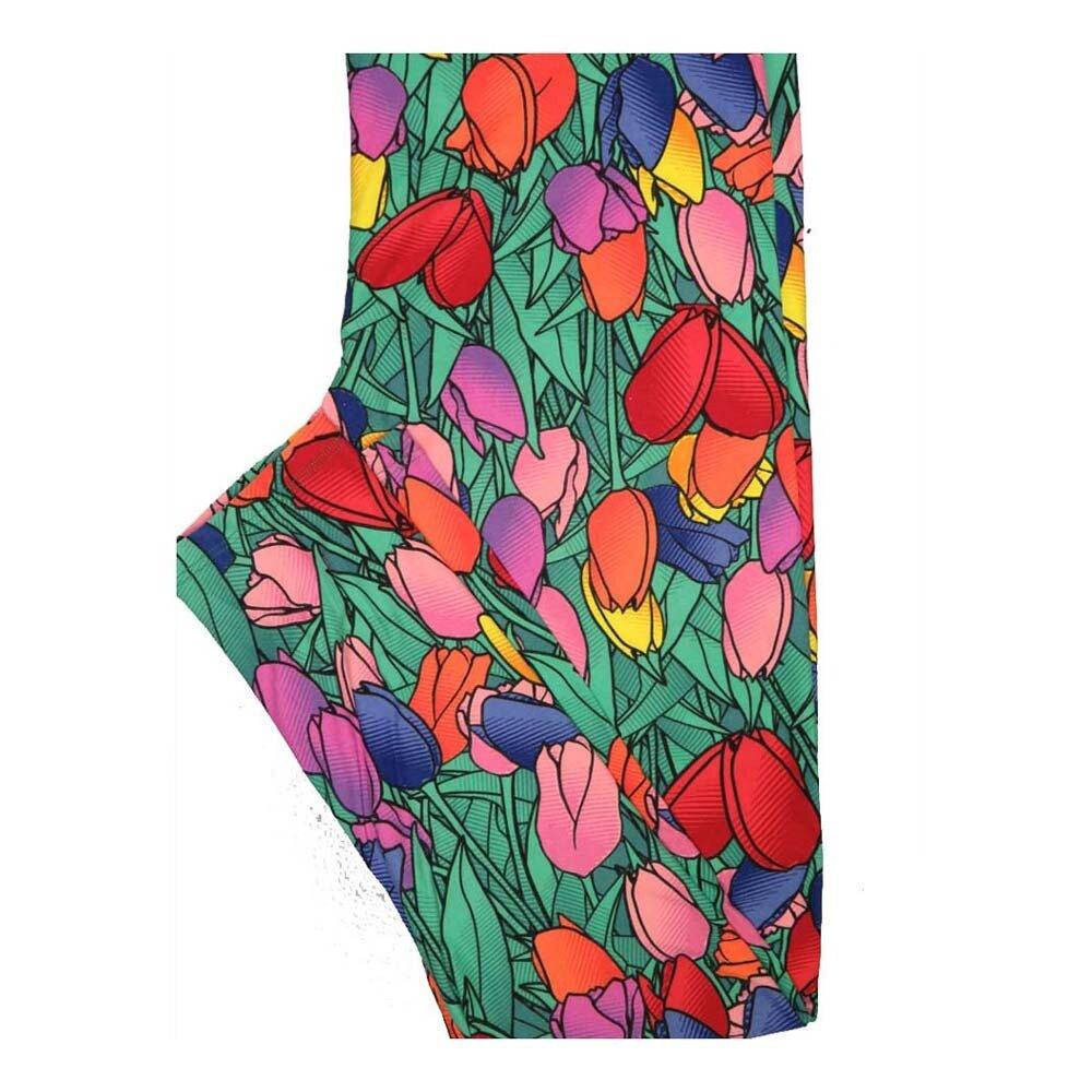 LuLaRoe Tall Curvy TC Valentines Hearts of Tulips Leggings fits Women 12-18
