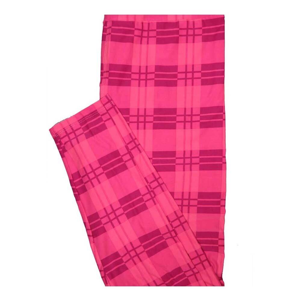 LuLaRoe Tall Curvy TC Valentines Plaid Pink Leggings fits Women 12-18