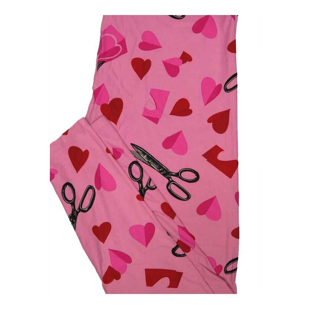 LuLaRoe Tall Curvy TC Valentines Scissors Cutting Out Hearts Leggings fits Women 12-18