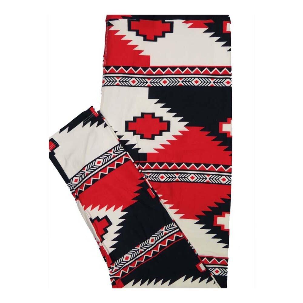 LuLaRoe Tall Curvy TC Black Red White Southwestern Aztek Stripe Leggings fits Women 12-18