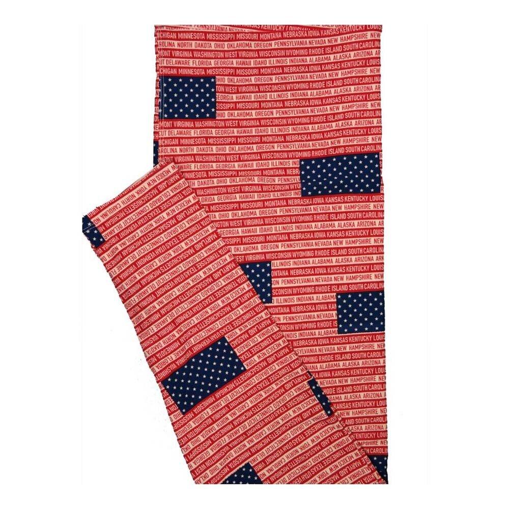 LuLaRoe Tall Curvy TC All 50 States USA Flag Red White Blue Leggings fits Women 12-18