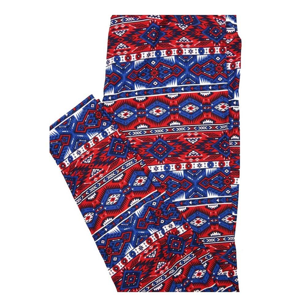 LuLaRoe Tall Curvy TC Aztek Southwestern Geometric Stripe Red White Blue Leggings fits Women 12-18