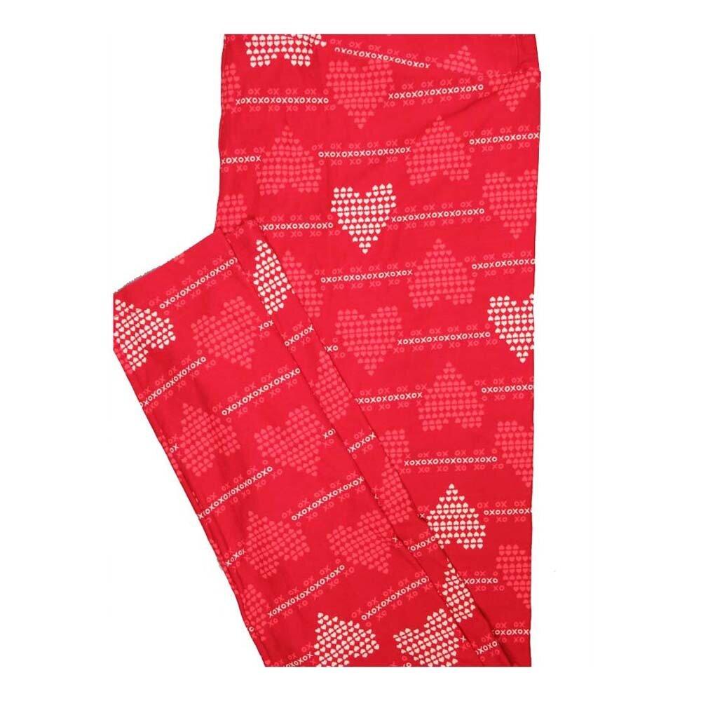 LuLaRoe Tall Curvy TC Valentines XO's Hearts Stripes Leggings fits Women 12-18