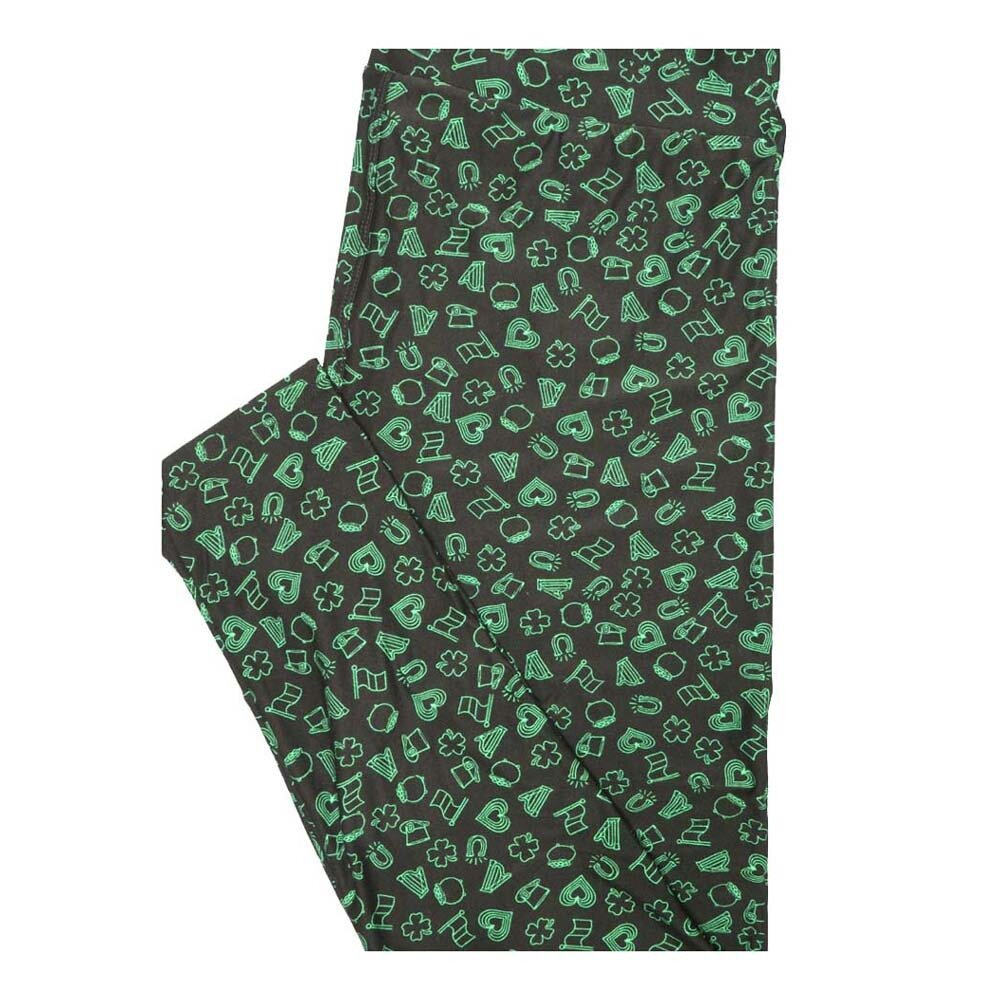 LuLaRoe Tall Curvy TC Lucky Irish St Patricks Hearts Shamrock 4 Leaf Lcover Horseshoe Leggings fits Women 12-18