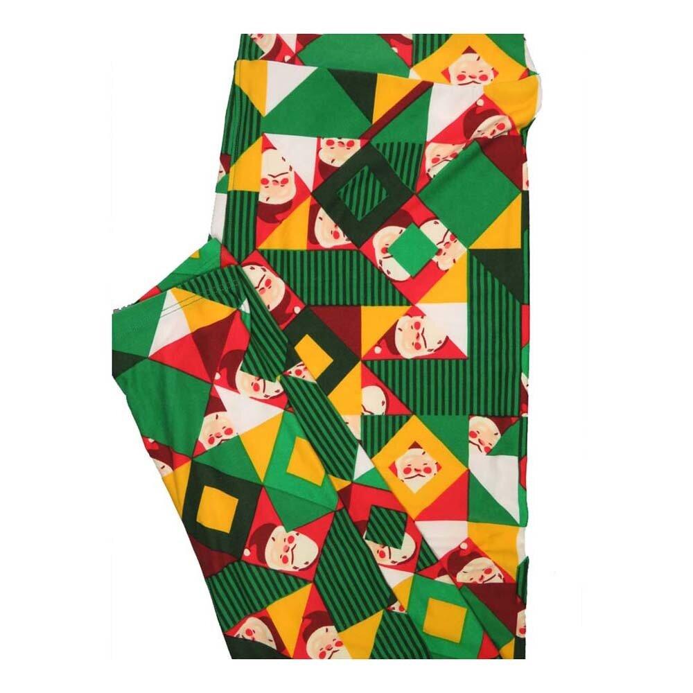 LuLaRoe Tall Curvy TC Christmas Holiday Santa Claus Geometric Leggings fits Women 12-18