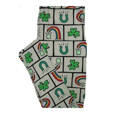 LuLaRoe Tall Curvy TC Lucky Irish St Patricks Rainbow Pot O Gold White Green Yellow Blue Leggings fits Women 12-18