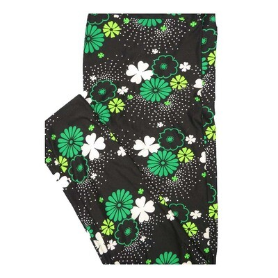 LuLaRoe Tall Curvy TC Lucky Irish St Patricks Floral black White Green Shamrock 4 Leaf Clover Leggings fits Women 12-18