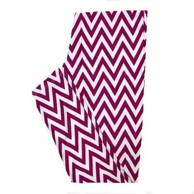 LuLaRoe One Size OS Magenta White Zig Zags Stripe Leggings fits Women 2-10