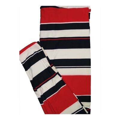LuLaRoe Tall Curvy TC Black Red White Stripe Leggings fits Women 12-18