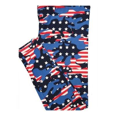 LuLaRoe Tall Curvy TC Camouflage Flag USA Stars Stripes Red White Blue Leggings fits Women 12-18