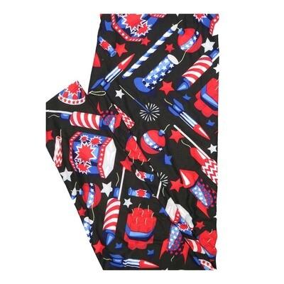 LuLaRoe Tall Curvy TC Fireworks Rockets Cherry Bombs Stars Stripes Black Red White Blue Leggings fits Women 12-18